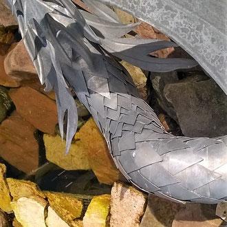 Drache am Brunnen - Dekoidee Haus Garten Gartendekoration, Deko, Garten, Metall, Zink, Zinkkunst, Kunst aus Zink, Kunst aus Blech, Blechkunst