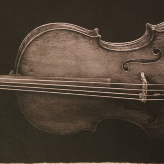 Stradivari, Paganini/2013/black color pencil on paper/287x762mm
