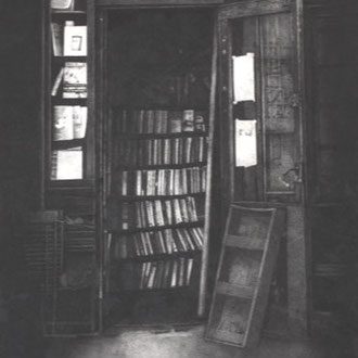 Shakespeare & Co., Paris # 2/2008/black color pencil/570x380mm