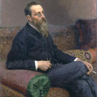 Retrato de Nikolái Andreyévich Rimski-Kórsakov. Óleo sobre lienzo. Museo estatal ruso, San Petersburgo.