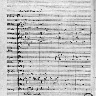 Page from the manuscript of the Requiem In paradisum m. 413 Bibliothèque Nationale
