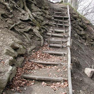 heutiger Aufgang zur Ruine, rechts verm. Burggraben