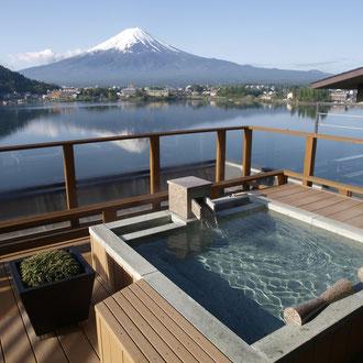 露天風呂から富士山 河口湖