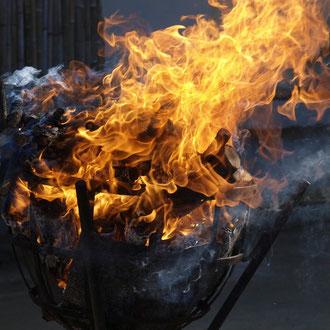 火と水は聖なるシンボル。吉備津彦神社