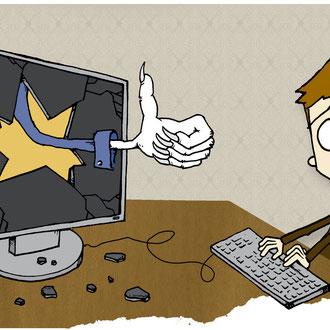 """""""Unliebsame Freunde bei Facebook"""" Illustration für die Hannoversche Allgemeine Zeitung © Stefan Hoch"""