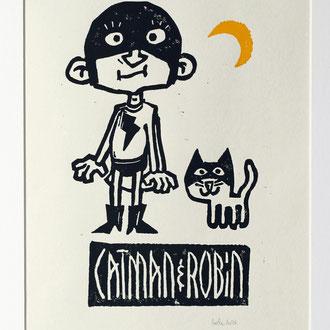 """""""catman&robin"""" (linoldruck, auflage 15stk) © Stefan Hoch"""
