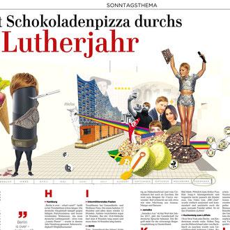 """""""Jahresrückblick 2017"""" Illustration für die Hannoversche Allgemeine Zeitung © Stefan Hoch"""