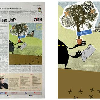 """""""Geisteruni"""" Illustration für die Hannoversche Allgemeine Zeitung © Stefan Hoch"""