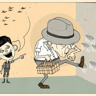 """""""Flohanhacken"""" Illustration für die Hannoversche Allgemeine Zeitung © Stefan Hoch"""
