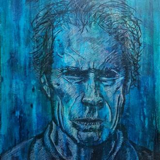 Clint Eastwood, Mischtechnik auf Leinwand, 40 x 50 cm, Acryl, Kreide, Kohle