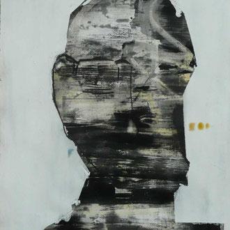 """Annelies Wagner, """"unvollendet 1"""", Absprengtechnik, 50 x 70 cm"""