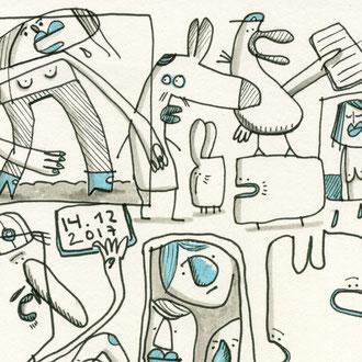 zweites Detail des fertigen Skizzenblattes des Motives Depression zeichnen mit Tusche auf Papier als comicartige Kreaturen