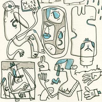 Detail des fertigen Skizzenblattes des Motives Depression zeichnen mit Tusche auf Papier als comicartige Kreaturen