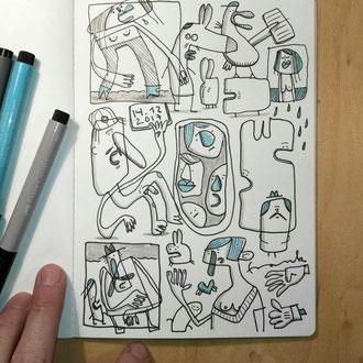 das fertige Skizzenblatt des Motives Depression zeichnen mit Tusche auf Papier als comicartige Kreaturen