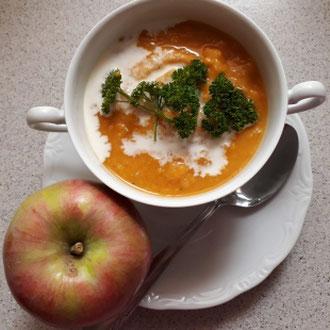 Süßkartoffel-Apfel-Suppe, glutenfrei