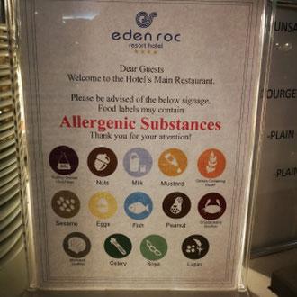 Allergenkarte, Hotel Eden Roc, Rhodos