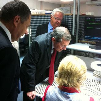 Visite des ateliers avec M.Le Sénécal, Président du directoire, et M.Duval, président du conseil de surveillance