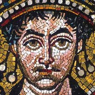 Fig.2: Particolare di Giustiniano, mosaico sito nella Chiesa di S.Vitale a Ravenna
