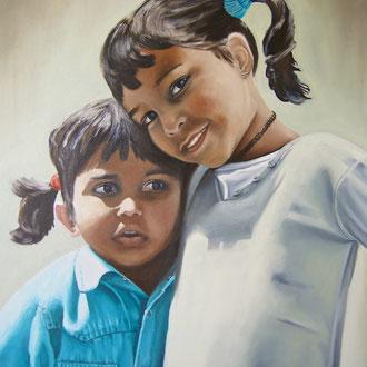 Ashu und Karuna, 70 x 80 cm, verkauft