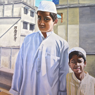Brüder in Delhi, 80 x 100 cm, Preis Fr. 630.-