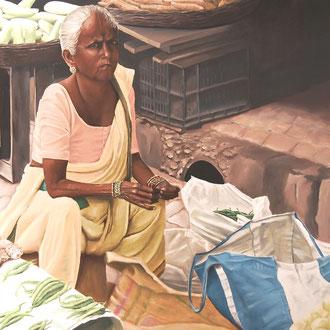 Marktfrau in Mumbai, 100 x 80 cm, unverkäuflich
