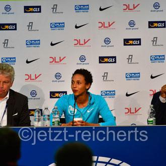 PK Pressekonferenz mit Malaika Mihambo, Deutsche Meisterin 7,16m in Berlin, Weltmeisterin mit 7,30m in Doha, Siegerin Diamond League 2019