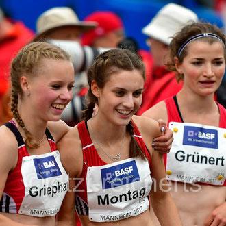 Wiebke Griephan; LAV Ribnitz-Damgarten-Sanitz / Jennifer Montag; TSV Bayer 04 Leverkusen / Lisa Grünert; LV 90 Erzgebirge