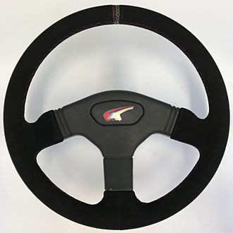 Volant Peugeot 106 Rally en cuir retourné noir, points entrelacés à 12h, coutures rouges, point losange