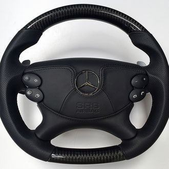 Gainage AirBag volant Mercedes CLS 63 AMG cuir nappa noir, surpiqures noires