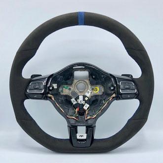 Volant Golf R Amantea noir, bande de rappel bleue, point losange, fil bleu
