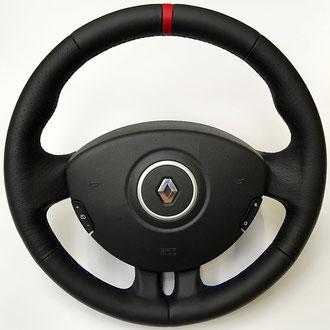 Volant Renault clio 3 RS cuir nappa noir lisse et perforé, bande cuir nappa rouge, coutures bleues
