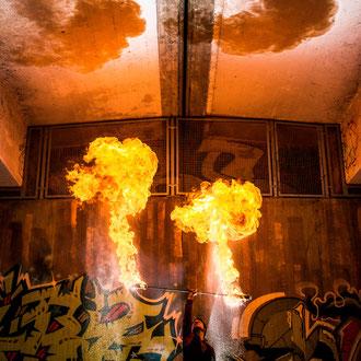 Feuerspucker Esslingen am Neckar bei Stuttgart