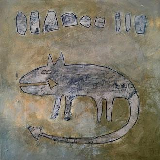 Agathe De Filippi - Peinture 4 - Technique mixte - Chat  fléché