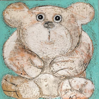 Nounours - commission             Mixed Media on linen         12''x12''