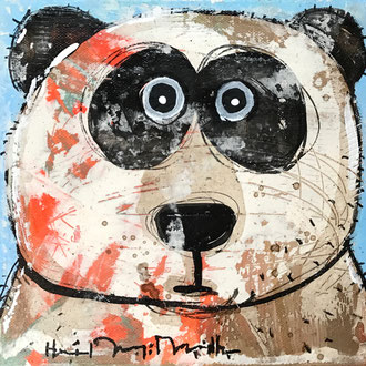 Tian Tian                      Mixed Media on linen      8''x8''