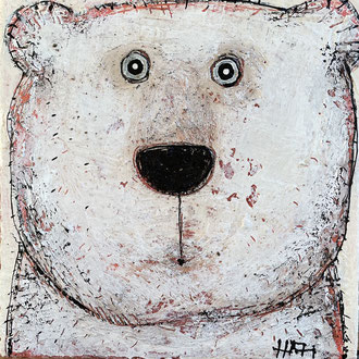 Ourson banc      Mixed Media on linen         8''x8''