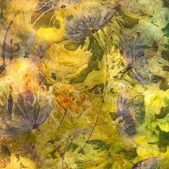 """<span id=""""titcol"""">Blüten violett <span/><span id=""""bezcol"""">Mischtechnik</br>80 x 100 cm<span/>"""