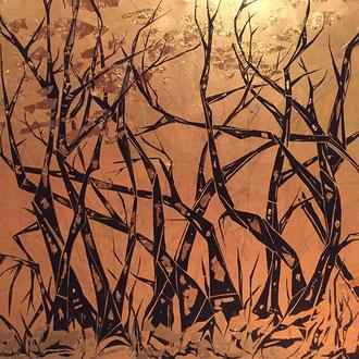 "<span id=""titcol"">Bäume auf Gold <span/><span id=""bezcol"">Kupferfarbe Acryl</br>100 x 100 cm<span/>"