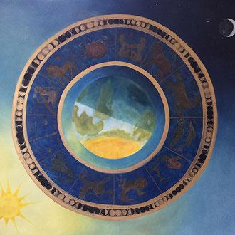 "<span id=""titcol"">Das astrologische Rad <span/><span id=""bezcol"">Öl Goldfarbe</br>100 x 80 cm"