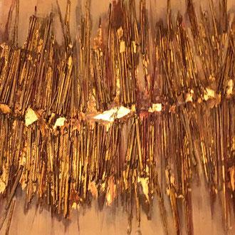 "<span id=""titcol"">sticks <span/><span id=""bezcol"">Stroh Gold</br>120 x 100 cm<span/>"