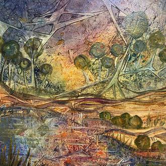 """<span id=""""titcol"""">Landschaft mit Brücke <span/><span id=""""bezcol"""">Mischtechnik</br>60 x 80 cm<span/>"""