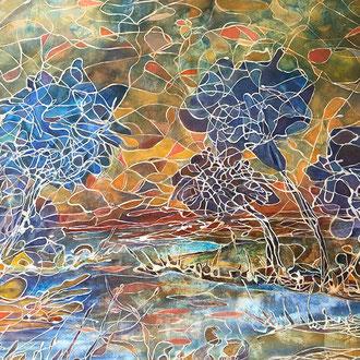 "<span id=""titcol"">Mosaik-Landschaft <span/><span id=""bezcol"">Mischtechnik</br>120 x 100 cm<span/>"