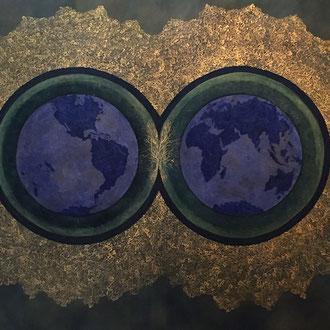 """<span id=""""titcol"""">Weltenbild 2 <span/><span id=""""bezcol"""">Öl Gold 140 x 120 cm<span/>"""