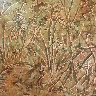 """<span id=""""titcol"""">Dschungel abstrakt <span/><span id=""""bezcol"""">Mischtechnik Struktur Schlagmetall, 130 x 100 cm<span/>"""
