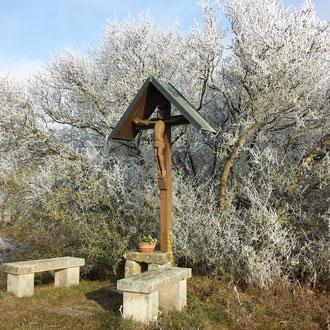 Winter Rauhreif Jesuskreuz