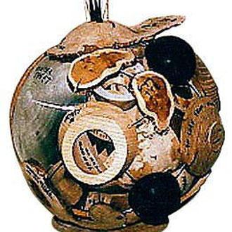 """""""Scrap sphere"""" rebut de 2 mois de stage débité et assemblé en sphère  - 80 cm - 1997"""