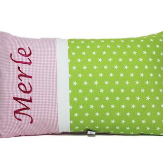 Namenskissen grün-rosa