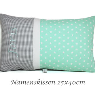 Namenskissen grau-mint