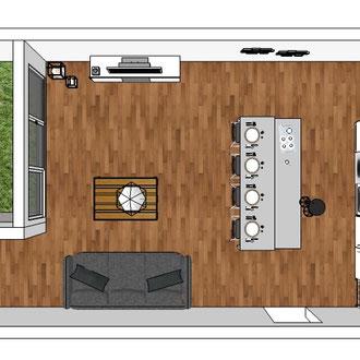 Création d'un îlot central dans un appartement par MP intérieurs, Architecte d'intérieur UFDI : vue en plan.
