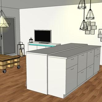 Création d'un îlot central dans un appartement par MP intérieurs, Architecte d'intérieur UFDI : vue vers le salon.